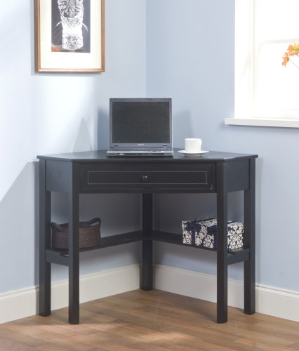 Target Marketing Systems Wood Corner Desk with One Drawer and One Storage Shelf, Black Finish by Target Marketing Systems (Image #2)