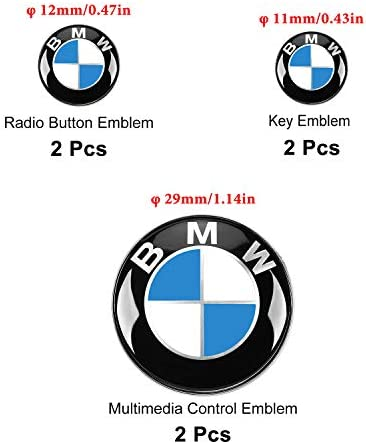 6 PCS for BMW Embl Decals Stickers 2 PCS 29mm Multimedia Control Badge Stickers 2 PCS 12mm Radio Button Embl Stickers 2 PCS 11mm Remote Key Embl Stickers