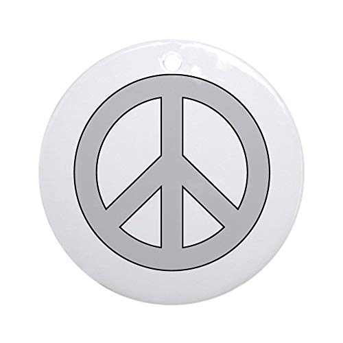 CafePress Silver Peace Sign Ornament (Round) Round Holiday Christmas Ornament