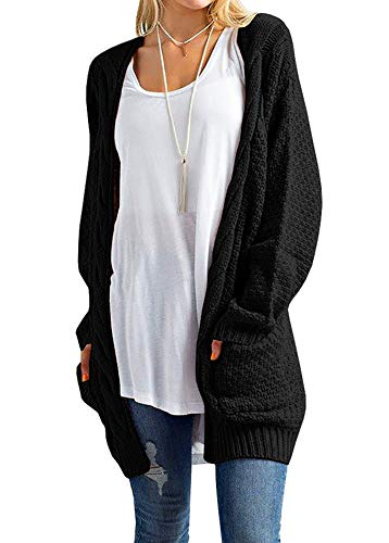 Sherrylily Womens Casual Knit Open Front Long Sleeve Cardigans with Packets Black