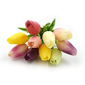 SMYLLS 10 pcs Holland Tulips Flowers with Latex-Look Like Real,Eco-Friendly Odourless Artificial Flowers (10, Multiple Colors) 36