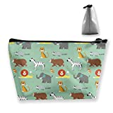 RobotDayUpUP Animal Parade Wrapping Womens Travel Cosmetic Bag Portable Toiletry Brush Storage Multipurpose Pen Pencil Bags Accessories Sewing Kit Pouch Makeup Carry Case