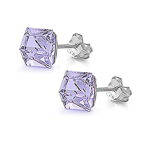 Sterling Silver 4mm Cube Crystal Stud Earrings, Lavender