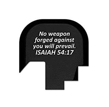 BASTION Rear Slide Cover Plate for Smith & Wesson S&W M&P Shield 9mm .40 ONLY, Butt Plate with Laser Engraved Image - Isaiah 54:17