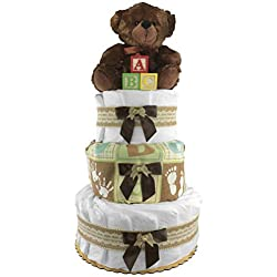 Gender Neutral Teddy Bear Diaper Cake - Baby Shower Gift