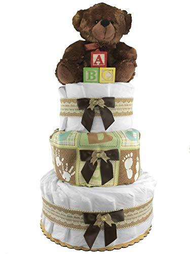 Teddy Bear 3-Tier Diaper Cake - Gender Neutral - Baby Shower Gift ()