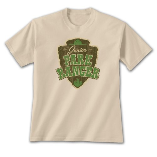 Earth Sun Moon Junior Park Ranger ~ Small Youth T-shirt Sand, Outdoor, Novelty Gift Apparel ()