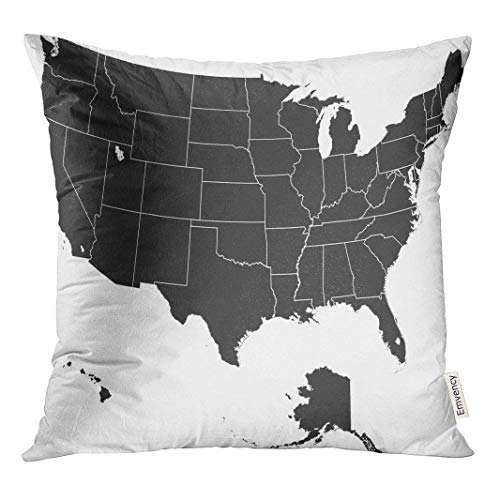 HFYZT Green State Detailed Map of The USA United Louisiana Cover Standard Throw Pillowcase 18X18 Inch -