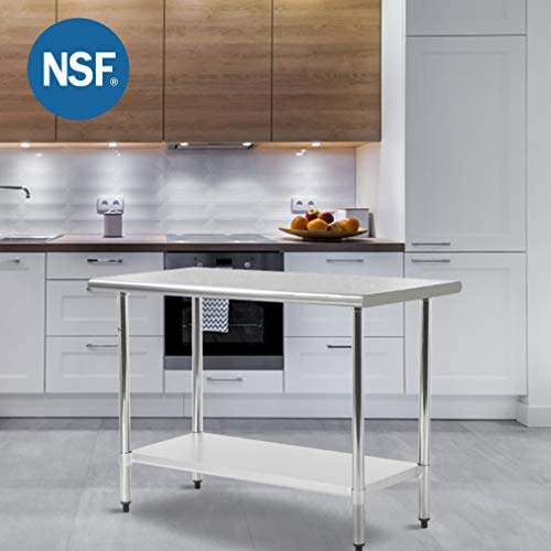 FDW Metal Kitchen Work Table with Adjustable Table Foot Antirust Scratch Resistent Stainless Steel Work Table,30 X 60Inchs