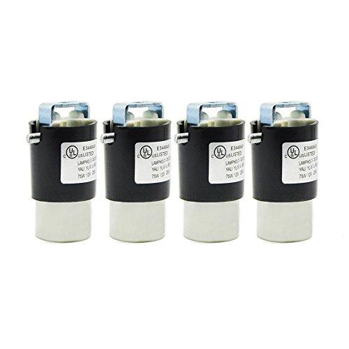 E12 Socket,Ceramic Candelabra Socket E12 Bulb Lamp Holder,Screw Fixing for E12 Incandescent LED Light Bulb (4-Pack)