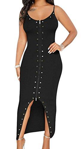 Midi Strap Bodycon Black Dress Sexy Club Spaghetti Zipper Domple Womens Buttons Split qfatwPzYx