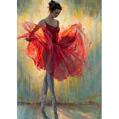20x26 Inch Rhinestone Cross-stitch Ballet Dancer in Red DIY Diamond Painting Kits Arts, Crafts & Sewing 5D Diamond Painting