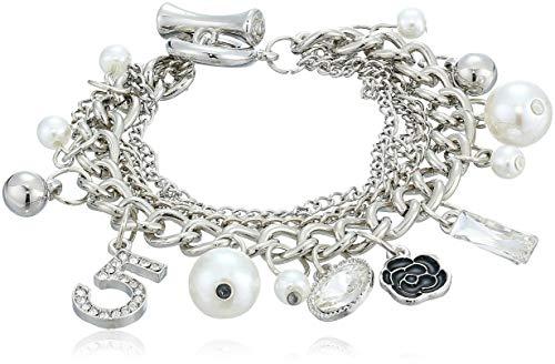Fashion Jewelry Logo Silver Tone Chain Inspired Charm Bracelet For Women (Camellia) (Fake Chanel Jewelry)