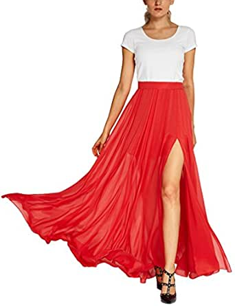 Urban CoCo Women's Fashion Solid Color Flowy Split Long Maxi Skirt (S, Red)