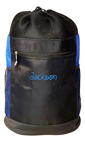 Personalized Tri-Mesh Microfiber Drawstring Backpack Gym Beach Pool Swim (Black/Royal - Embroidered Name)