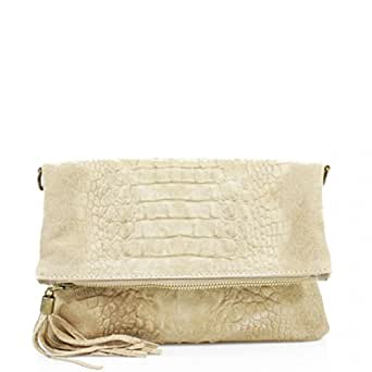 Womens Ladies Real Leather Envelope Clutch Evening (Beige)