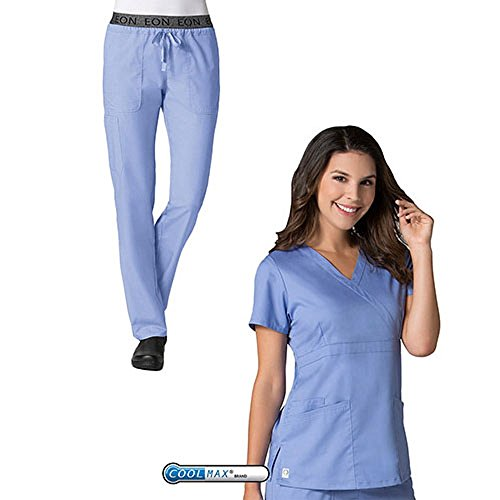 EON by Maevn Mock Wrap Top & 7 Pocket Waistband Cargo Pant Scrub Set (Medium Petite, Ceil ()