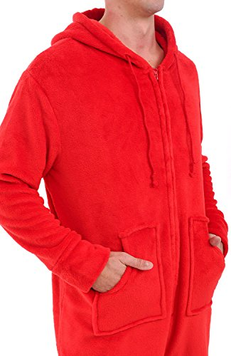 Alexander Del Rossa Mens Fleece Onesie, Hooded Footed Jumpsuit Pajamas, Large Red (A0320REDLG) by Alexander Del Rossa (Image #3)