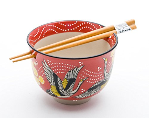Quality Japanese Ramen Udon Noodle Bowl with Chopsticks Gift Set 5 Inch Diameter (Japanese Crane) by Hinomaru Collection