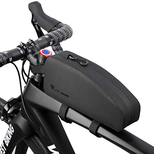 WESTGIRL Bicycle Top Tube Storage Bag, Waterproof Triangle Bike Handlebar Front Frame Pouch Large Capacity Lightweight Pack Road Mountain Cycling Accessories (Black) from WESTGIRL