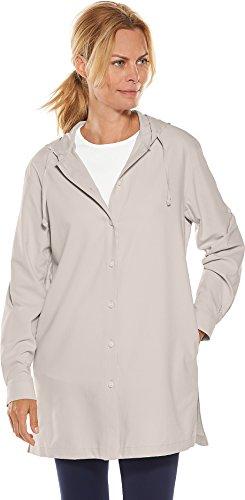 Coolibar UPF 50+ Women's Beach Shirt - Sun Protective (2X- Stone Grey)