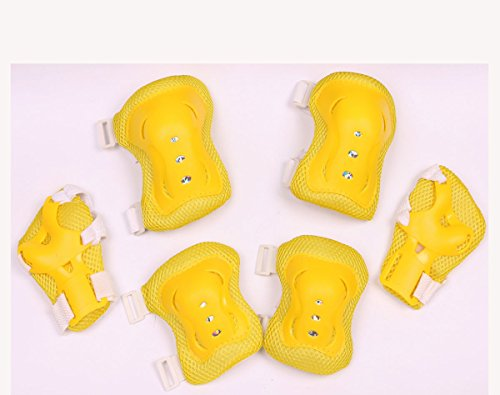 Mini Skater Children/Kid's Cycling Inline & Roller Skating Knee Elbow Wrist Protective Pads in Black (Yellow)