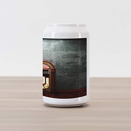 Ambesonne Jukebox Cola Can Shape Piggy Bank, Scary Movie Theme Old Abandoned Home with Antique Old Music Box Image, Ceramic Cola Shaped Coin Box Money Bank for Cash Saving, Green Brown Petrol Blue