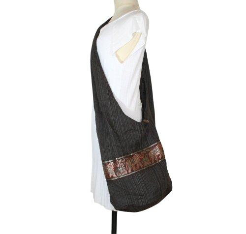 Hippie Elephant Sling Crossbody Bag Purse Thai Top Zip Handmade New Color Brown ELB-02