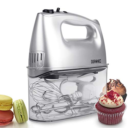 Duronic HM4SR Electric Hand Mixer Set 400W - 2 Beaters | 2 Hooks | 1 Whisk...