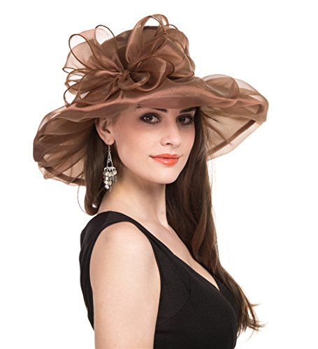 - Saferin Women Kentucky Derby Church Dress Organza Hat Special Occasion Flat Cap Coffee With Bowknot Free size