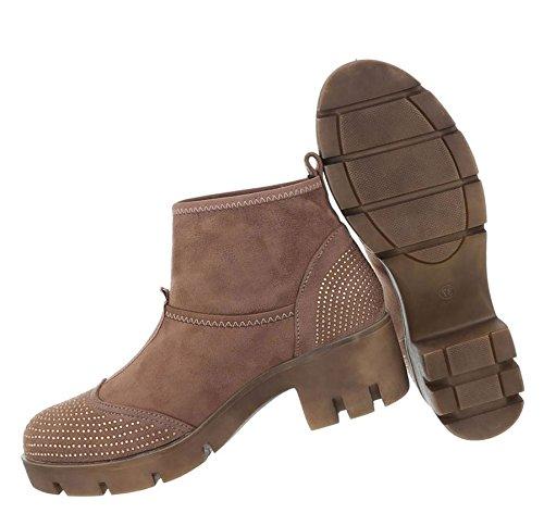 Damen Stiefeletten   Boots mit Nieten   Knöchelhohe Stiefel Leder-Optik    Robuste Stiefelette ... 6d3e4f887b