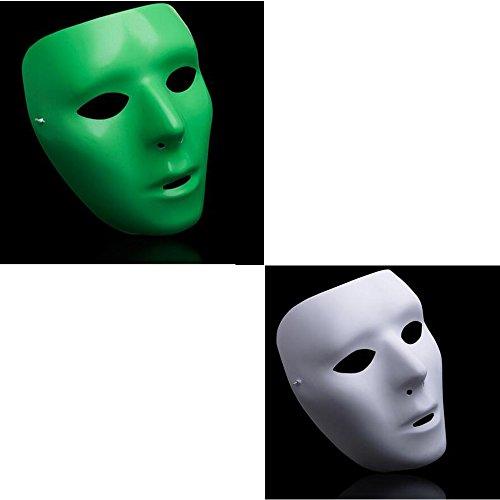 [Dongcrystal 2Pcs Women's Jabbawockeez Hiphop Mask Halloween Cosplay Costume Mysterious Party Dance Mask] (Smiley Latex Mask)