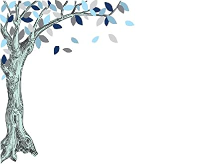 Large Corner Oak Tree Decal With Blue Leaves