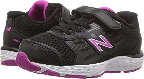 New Balance Girls' 680v5 Hook and Loop Running Shoe, Black/Azalea, 3 W US Infant by New Balance