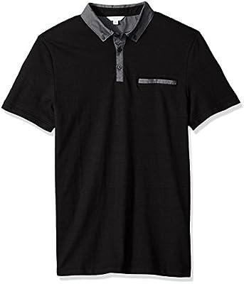 Calvin Klein Men's Short Sleeve Mixed Media Polo Shirt