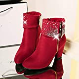 Womens Sexy Crystal Ankle Boots Thick Square