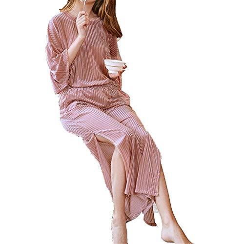 Due Signore XXSZKAA Home Colore Manica Sottile D'Oro Strisce Pezzi Wear Solido Mid A Velluto A2 Primavera Caduta Pigiama In Set Pantaloni rUrqzWA6a