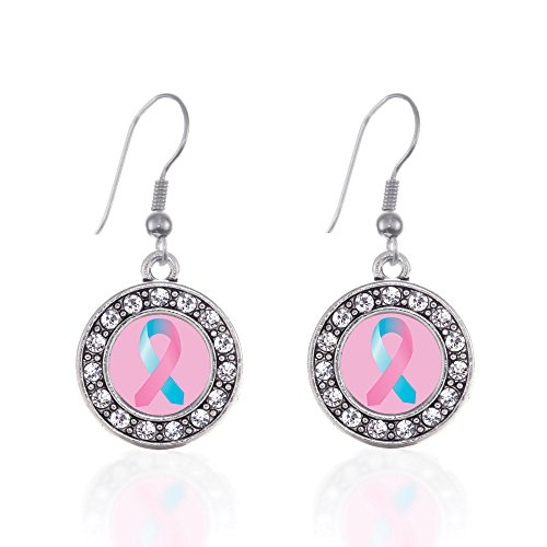 Inspired Silver - SIDS Awareness Ribbon Charm Earrings for Women - Silver Circle Charm French Hook Drop Earrings with Cubic Zirconia Jewelry -