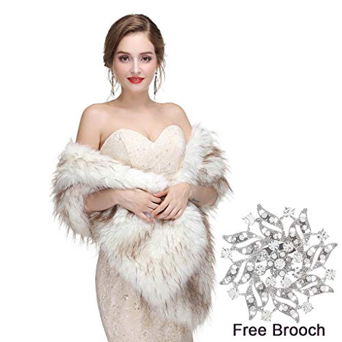 Yfe Women's Faux Fur Wraps Long Wedding Fur Shawl 1920s Sleeveless Bridal Fur Stole Scarf for Bride and Bridesmaid (White)