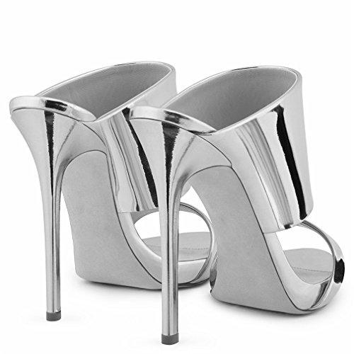 Toe Festa Spillo A Sexy 46 eu39 Ragazze Eu38 silver Pu Oro Scarpe Nuziale Argento Sposa Donna Lucky Clover Tacco a Sandali In Open RYqgZqI0