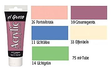 El Greco Acrylfarben Set 5 Teilig Pastellfarben Set Acrylfarben