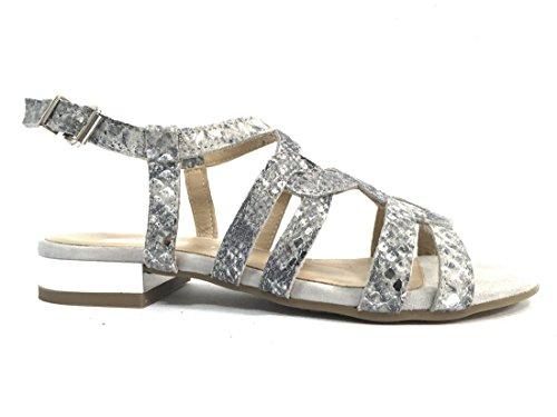 7831 ARGENTO/NERO Scarpa donna sandalo Igi&co pelle made in Italy