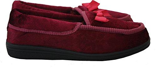New Ladies Womens Flat Slip On Satin Lined Comfort Velvet Bow Front Slippers Shoes UK Sizes 3-8 Burgundy jruCX