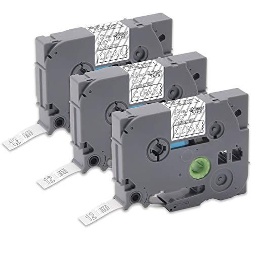 (P-touch Tz Tape 12mm 0.47'' Laminated White on Clear, Tze-135 Tze 135 Labeling Tape Compatible for Brother PT-D210 PT-D400AD PT-H110 PT-D600 PT-1280 PT-1230 LabelMaker, 1/2