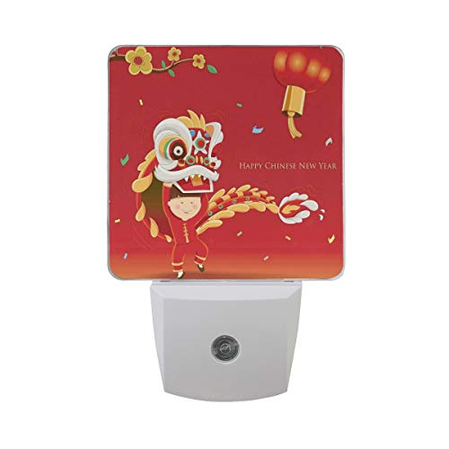 Colorful Plug in Night,Little Boy Performing Lion Dance with The Costume Flowering Branch Lantern,Auto Sensor LED Dusk to Dawn Night Light Plug in Indoor for Childs Adults