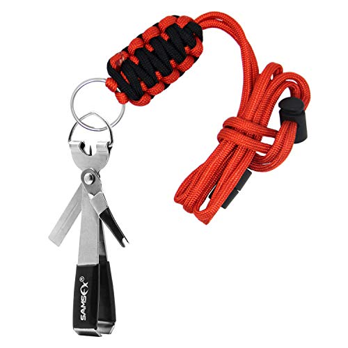 SAMSFX Fishing Quick Knot Tying Tool 4 in 1 Fly Line Clippers with Breakaway Lanyard (Lanyard Clippers)