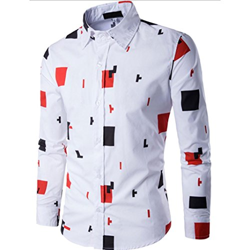 Men Shirt 2017 New Hot Sale Fashion Mens Casual Long Sleeve Shirt Business Slim Fit Shirt Printed Blouse Top by Neartime (XL, Orange) (Price Is Right 2017 Halloween)