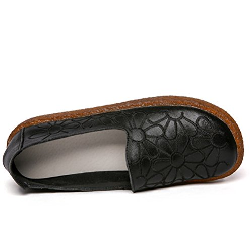 Style1 Round Slip Women's Minibee On Loafers Leather black Toe Flat Floral Shoes New xwPaaZ4qS
