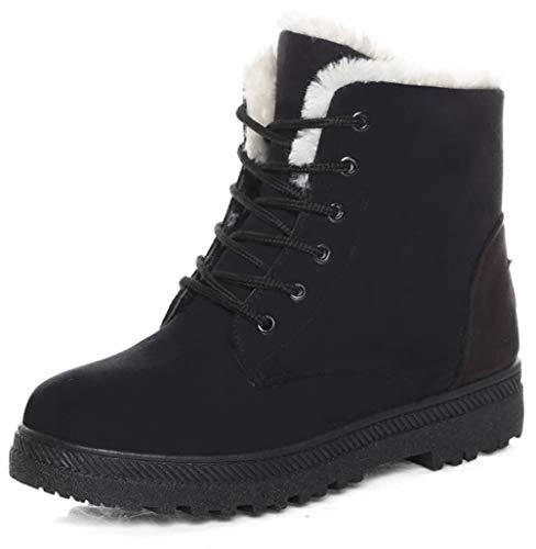 DADAWEN Women's Suede Waterproof Lace Up Winter High Top Snow Boots