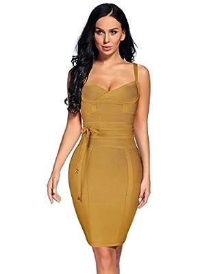 Madam Uniq Spaghetti Strap Bandage Bow Tie Sashes Prom Midi Dress